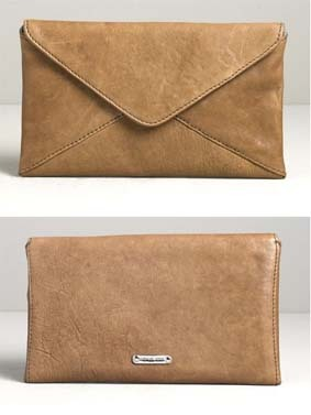 Envelope bag: a flat, square or rectangular bag with a triangle-shaped top flap that folds over like an envelope.