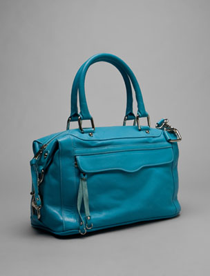Satchel: A structured handbag with double handles, locking hardware and a wide, flat bottom. May be large or small.