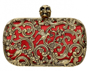 Mcqueen-Red-Ornate-Skull-Clutch